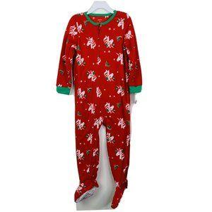 Carter's Girls Footed Pajama Sz 4 Toddler Red